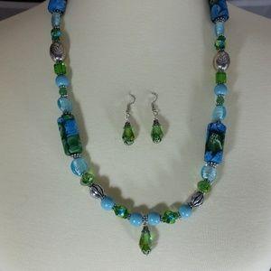Blue & Green Necklace & Earrings